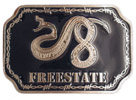 Coiled Rattlesnake on belt buckle with barb wire border
