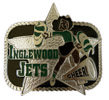 Cheerleader belt buckle with star in background and black and green color fill