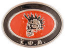 Skull belt buckle with Mohawk style hair skull