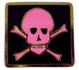 Hot pink skull and cross bones on black fill background