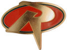 Unique shape R letter belt buckle with red color fill