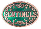 Country Western belt buckle with engraving and rope border