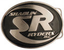 Oval motorcycle club belt buckle with black color fill