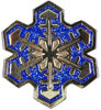 Snowflake belt buckle with blue color fill
