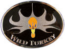 Orange turkey head on black color fill background belt buckle