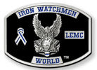 Law enforcement motorcycle club belt buckle with awareness ribbon