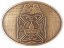 Maltese cross Fire department belt buckle with stippled antique background with perched eagle