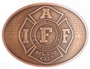 Maltese Cross Fire Fighter association belt buckle with antique stippled background