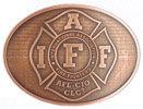 Maltese Cross Fire Fighter association belt buckle with antique stippled background