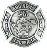 Maltese cross firefighter belt buckle with mascot