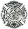 Maltese cross firefighter belt buckle with mascot