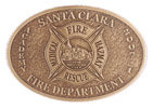 Oval Fire Medical and Rescue belt buckle with antique stippled background