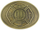 University Fire Department belt buckle with Maltese cross and antique stippled background