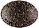 Fire and Rescue Firefighter belt buckle with Maltese cross and American flag