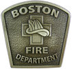Fire Department belt buckle with fireman helmet and stippled antique background