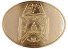Polished maltese cross fire belt buckle
