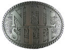 Intricate scrolled background on this Country Western Band belt buckle