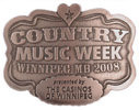 Country Western Music belt buckle with heart at top of design