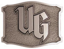 Belt buckle with unique shape and antique stippled background