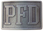 Rectangular belt buckle with letters and antique stippled background