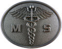 Oval belt buckle with Caduceus in middle of design