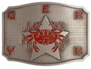 Color Filled Crab overlaid on Star belt buckle