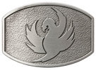 Eagle with outstretched wings belt buckle with antique stippled background