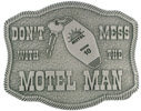 Motel keys on this unique belt buckle with rope border