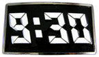 Rectangular color fill belt buckle with digital clock display
