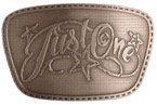 Personal design belt buckle with stitch border