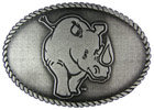 Rhinoceros belt buckle with rope border