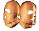 Two Phantom masks which are joined in the midddle on this custom  belt buckle