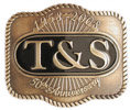 Commemorative belt buckle with color fill and rope border