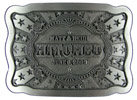 Newly married belt buckle with stars on this intricate design