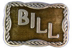 Western style personal name belt buckle