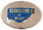 Oval belt buckle with color fill and antique stippled background