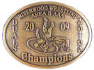 Oval wrestling champion belt buckle