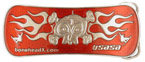 Skateboarders with skull and bones and flames belt buckle
