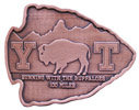 Endurance Run belt buckle with buffalo and mountain in the background