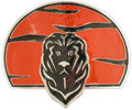 Lion head belt buckle with orange background