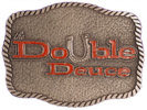 Horseshoe Western ranch belt buckle with rope border and stippled antique finish