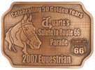 Western Equestrian Recognition belt buckle with Horse head and Route 66 road sign