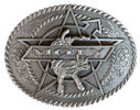 Steer kicking on center of oval belt buckle with rope border and intricate engraving detail