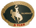 Country Western Construction belt buckle with rodeo cowboy - bucking bronco