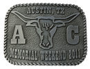 Western belt buckle with head of Longhorn steer