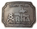 Western Show belt buckle with Cowboy and horse and barbwire border