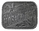 Western Farming belt buckle with barn and corn cobs and rope border and engraved background