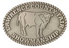 County Fair belt buckle with steer and chain border
