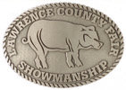 Western County Fair belt buckle with pig and rope border