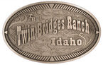 Western Ranch belt buckle with rope border